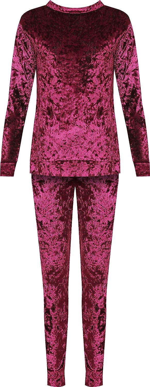 WearAll Women's Crushed Velvet Loungewear Set Top Trousers Velour Tracksuit Long 89667