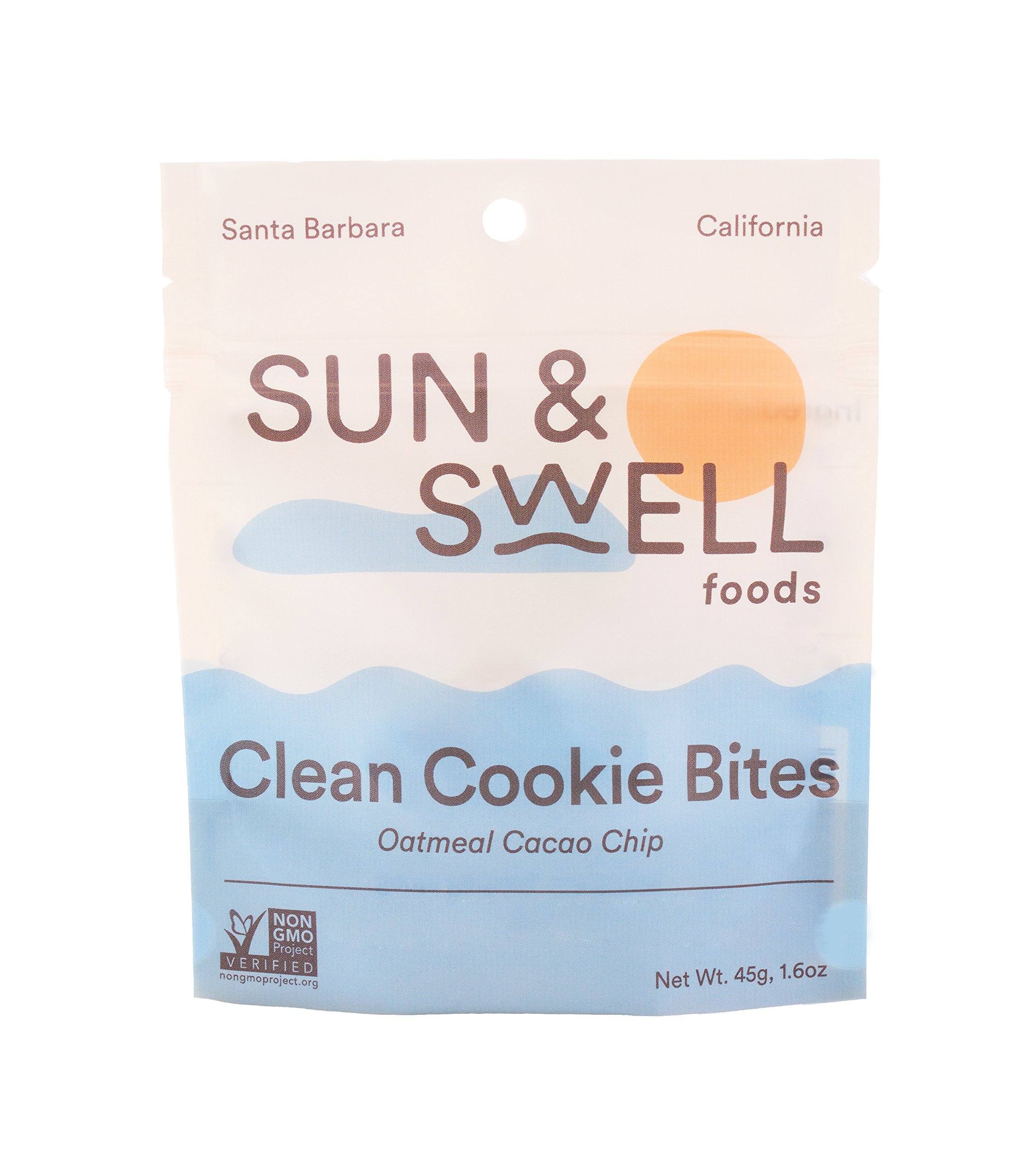 Sun & Swell Foods Clean Cookie Bites (6 Snack Packs): Oatmeal Cacao Chip; Healthy Snacks - Organic, Vegan, Gluten Free, and made with Whole Food Ingredients