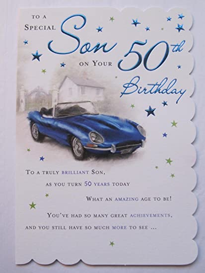 STUNNING TOP RANGE BEAUTIFULLY WORDED SON FIFTY 50TH BIRTHDAY GREETING CARD Amazoncouk Kitchen Home