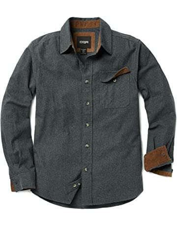 52a8c2fd969c CQR Men s Flannel Long Sleeved Button-Up Plaid 100% Cotton Brushed Shirt  HOF110