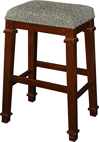 Linon Kennedy Backless Bar Stool, Brown Tweed