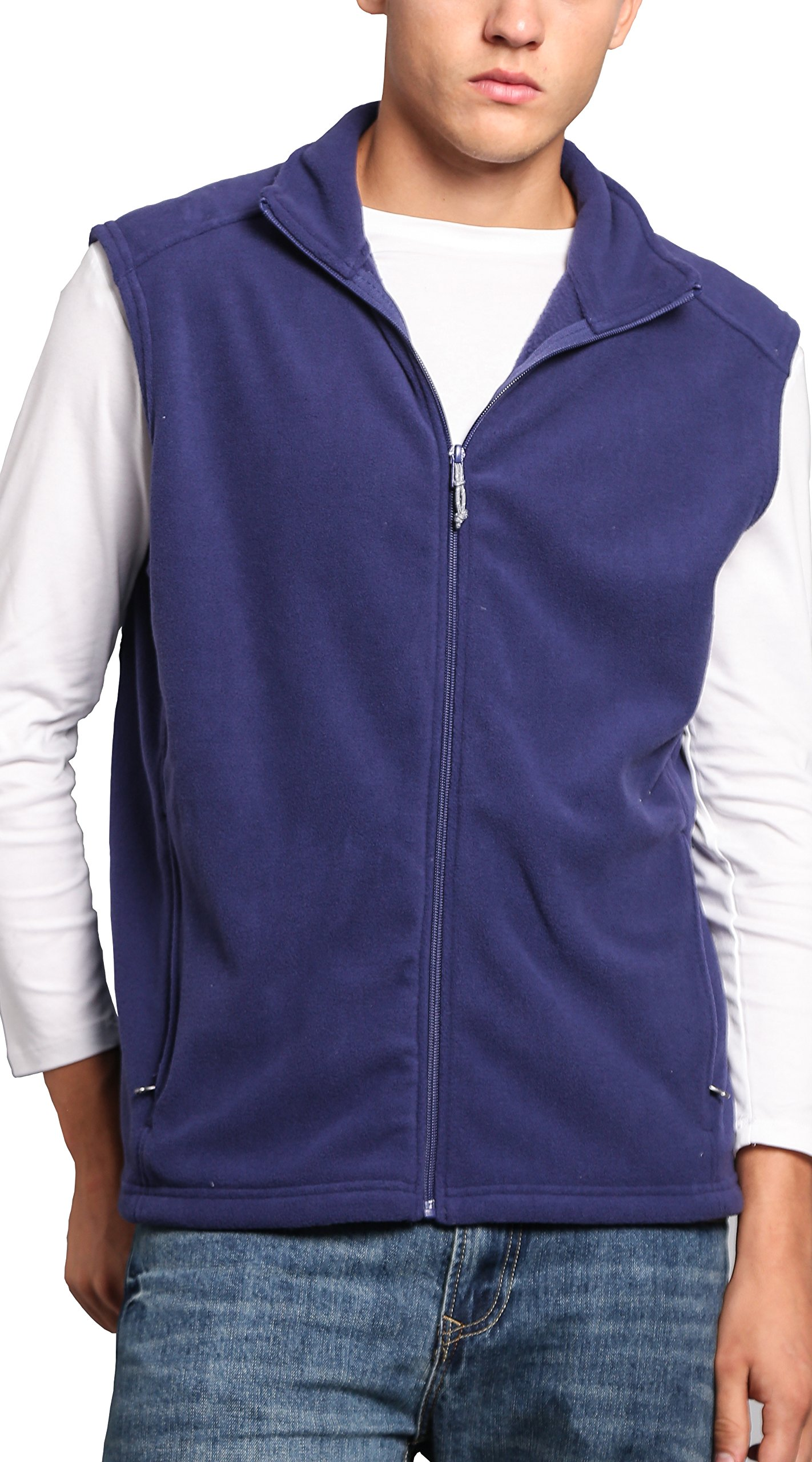 Oalka Men's Full Zip Soft Sport Fleece Vests Blue L by Oalka