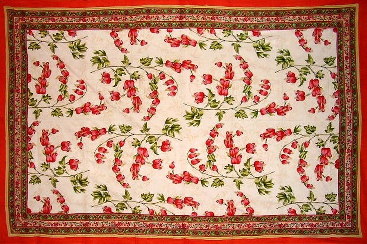 Floral Print Tapestry Cotton Spread 106'' x 72'' Twin Orange by India Arts (Image #2)