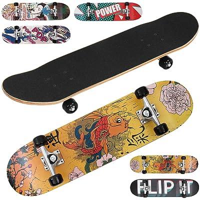 Physionics - Skateboard Planche à Roulettes en Bois d'Érable 31 Pouces Roues ABEC 5 (Couleur au Choix)