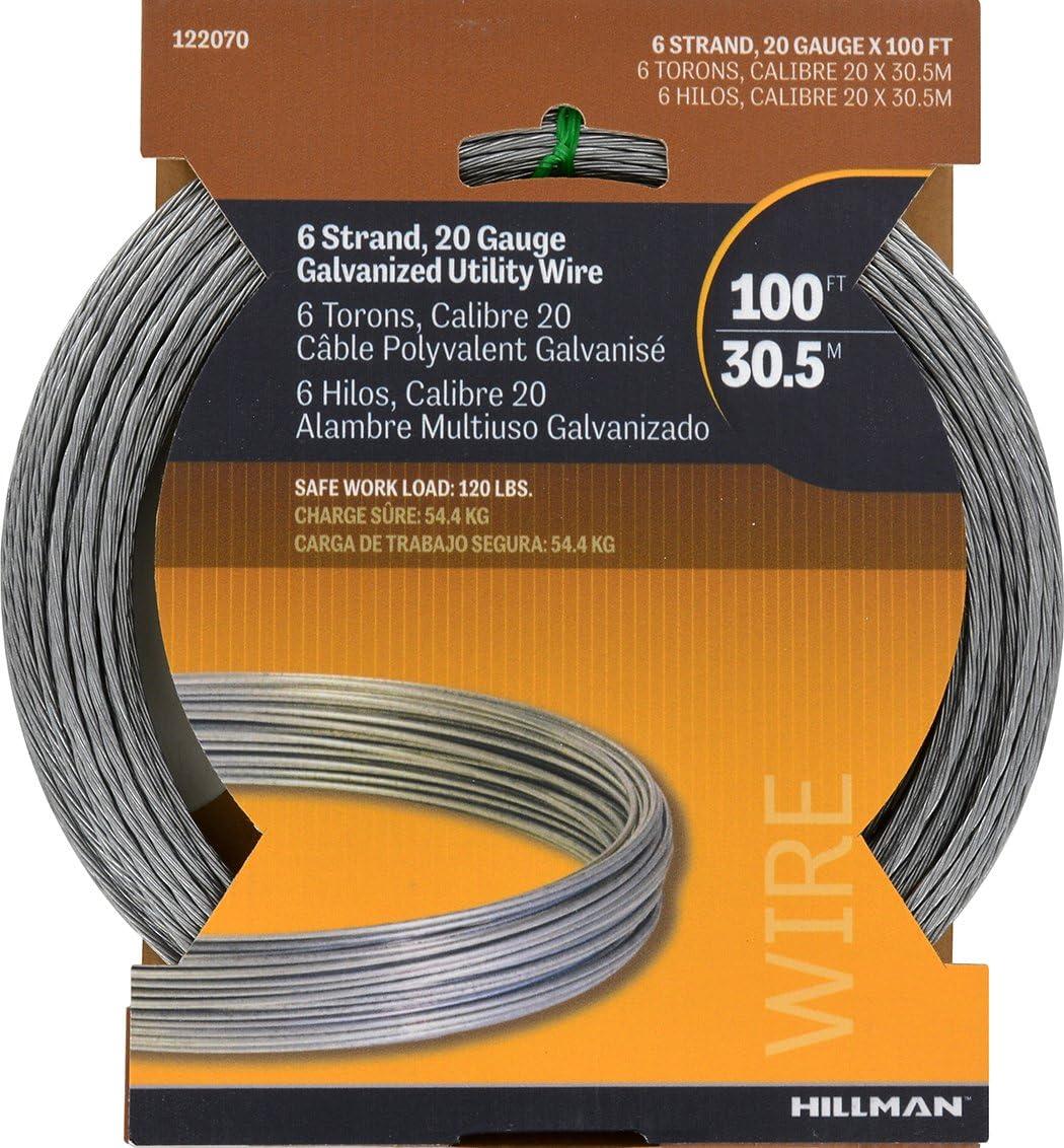 HILLMAN 100 ft Galvanized Steel Utlilty Wire Multi Purpose 20 Ga 6 Strand 122070