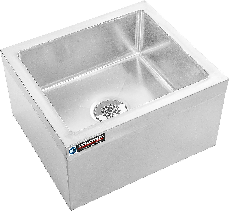 "DuraSteel Stainless Steel Floor Mount Mop Sink/Basin with Sink Drainage/Strainer - NSF Certified - 19"" W x 22"" L x 12"" H (Commercial kitchen, Restaurant, Business, Garages, Basements)"