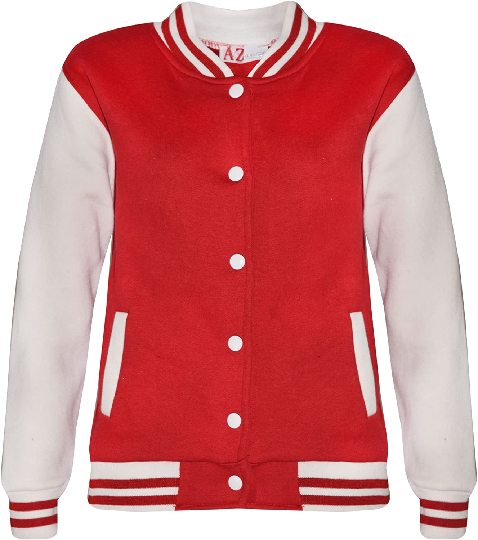 A2Z 4 Kids/® Bambini Ragazze Ragazzi Baseball Giacca Varsity Stile Moda Plain Scuola Giacche Top Nuova Et/à 5 6 7 8 9 10 11 12 13 Anni