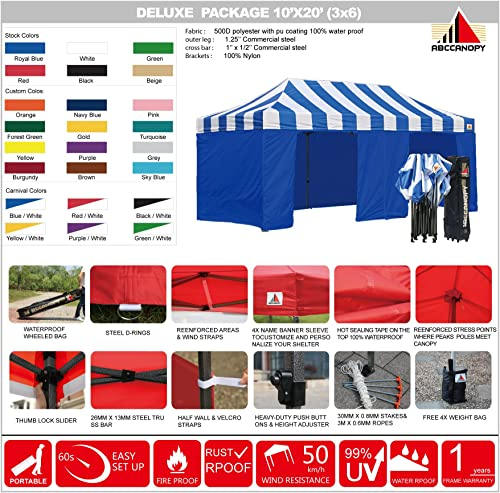 ABCCANOPY Canopy Tent Canopy 10×20 Pop Up Canopies Commercial Tents with 6 Removable Sidewalls and Roller Bag Bonus Sandbags, Blue with Blue Wall