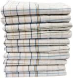 Fancyadda Khadi Handloom Cotton Face Towels for Women & Men (Pack of 10, Extra Large Size, Checks Pattern on White Fabric, Fast Absorbing, Quick Dry)