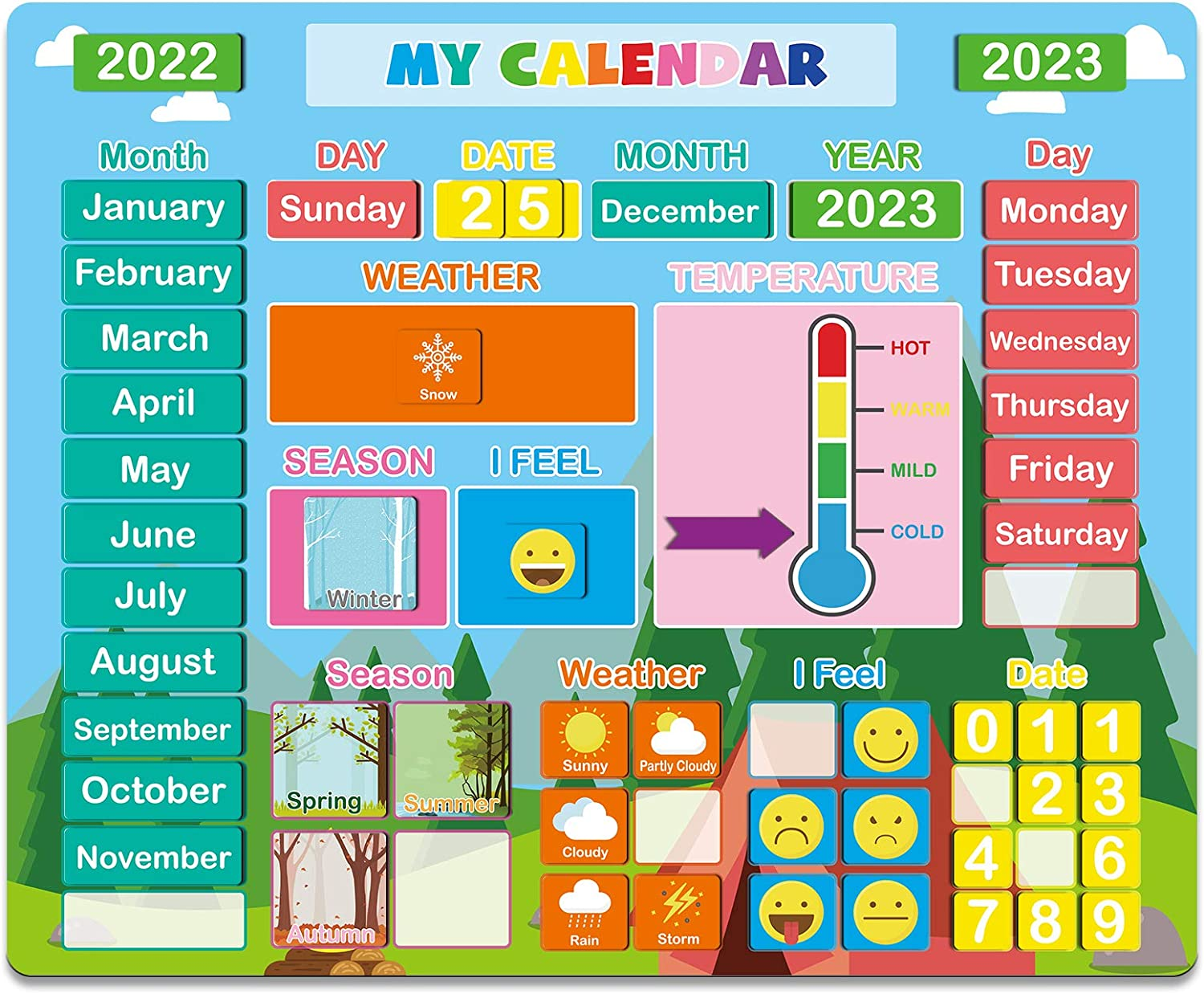 Daily Magnetic Calendar for Kids- 2021 Magnetic Educational Toy for Toddlers, Preschool Learning Gift for Boys/Girls/School/Home/Fridge, Education Supplies & Craft Supplies for Preschool/Kindergarten