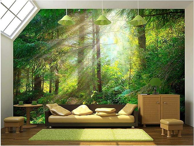 "wall26 - Beautiful Forest Wallpaper- Canvas Art Wall Mural Decor - 100""x144"" - - Amazon.com"