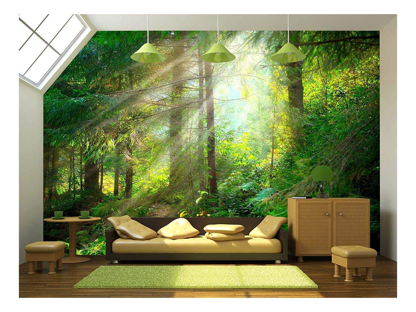 wall26 - Beautiful Forest Wallpaper- Canvas Art Wall Mural Decor - 100''x144''