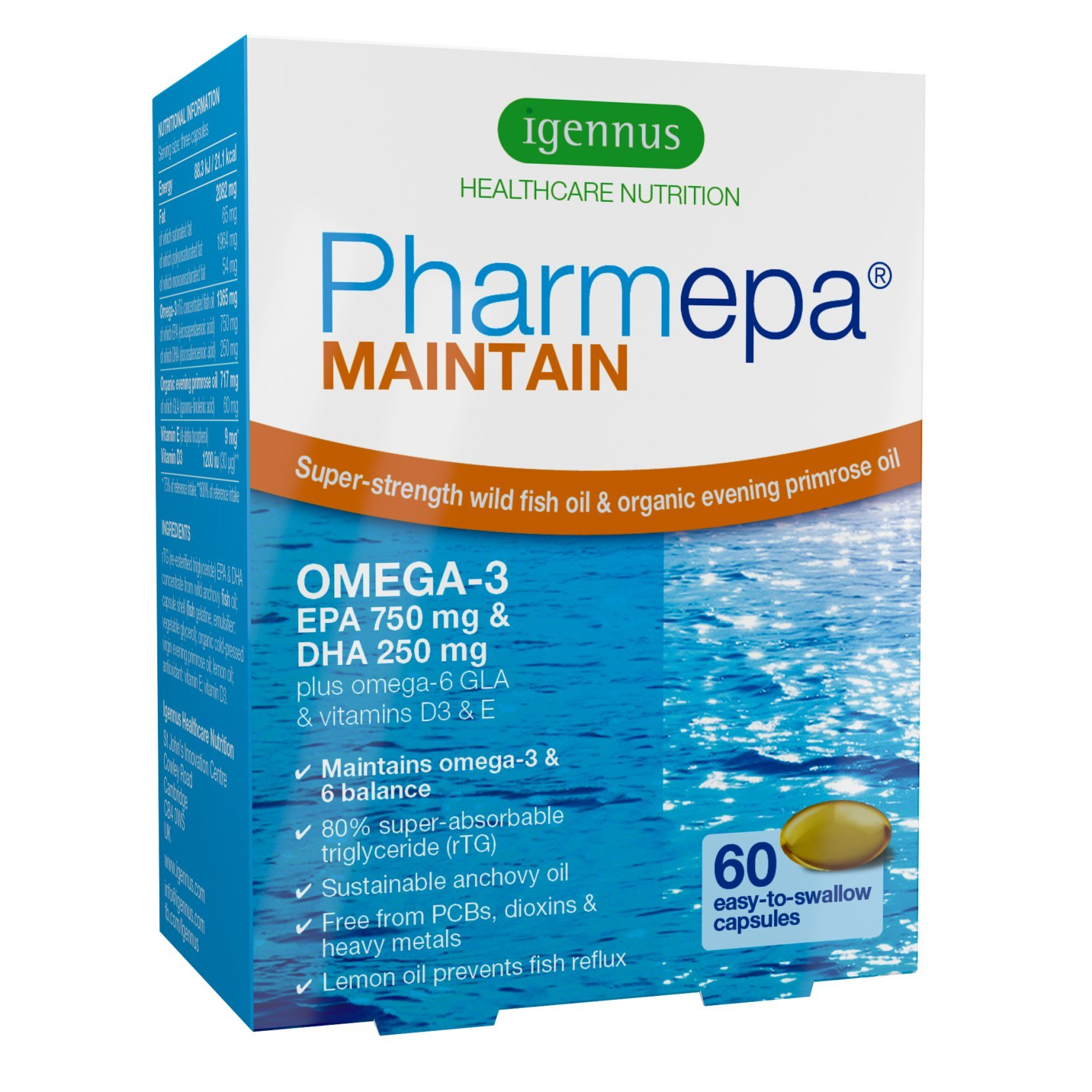 Pharmepa Maintain Super Strength Fish Oil, 1000 Mg EPA & DHA Omega-3 Per Serving, 80% Concentration Bioavailable rTG Omega-3, Plus GLA & Vitamin D3, GMP Manufactured, Burpless, 60 Small Softgels