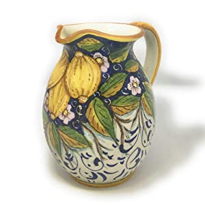 CERAMICHE D'ARTE PARRINI - Italian Ceramic Art Pottery Jar Pitcher Vino Vine 0.2 Gal Hand Painted Decorated Three Lemons Made in ITALY Tuscan