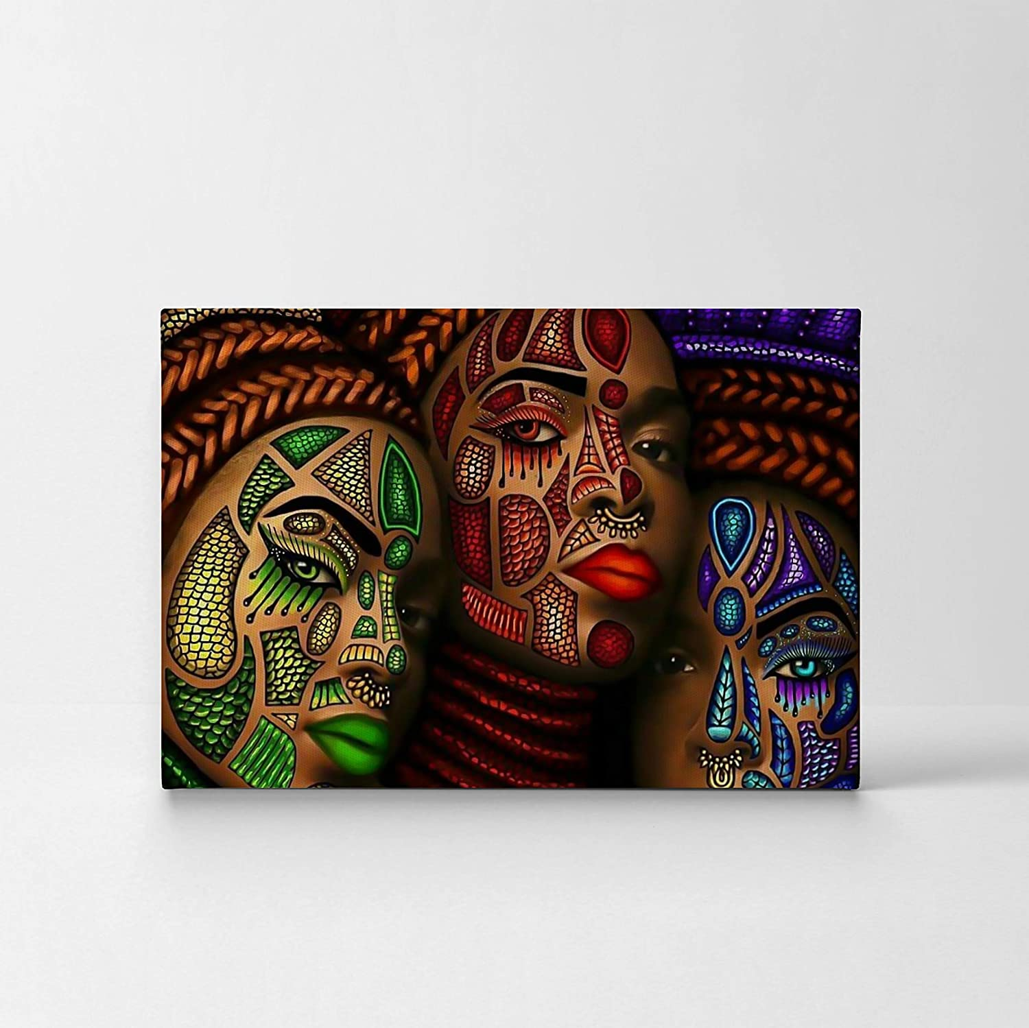 Smileartdesign Three African Women Stylish Make Up Modern Art Painting Canvas Print Decorive Wall Art African Art Home Decor Stretched Ready To Hang