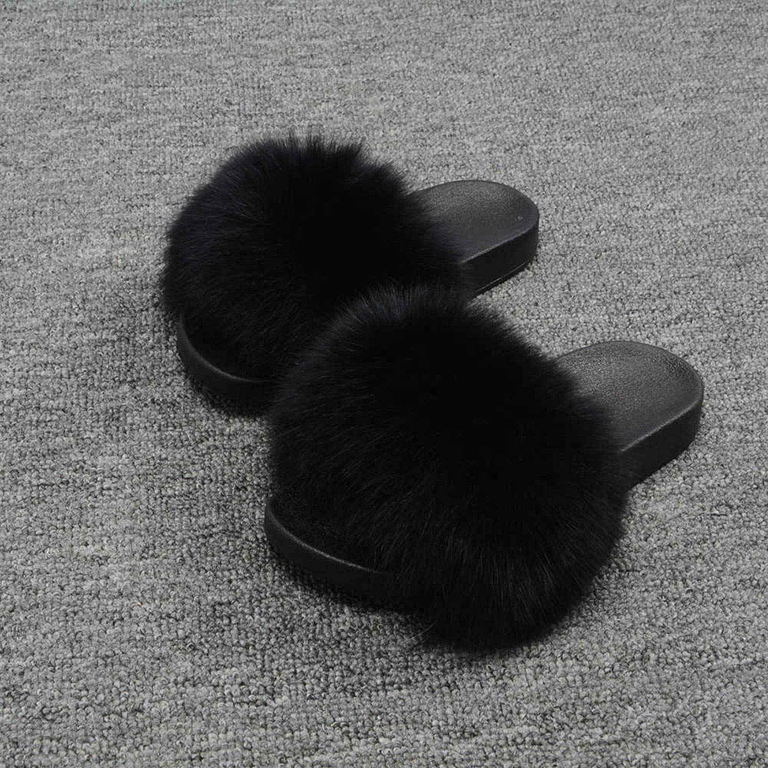 Black Blingbling-honored High end Real Fox Fur Slipper Women Slides Sliders Fashion Spring Summer Autumn Fluffy Fur Lady S6018