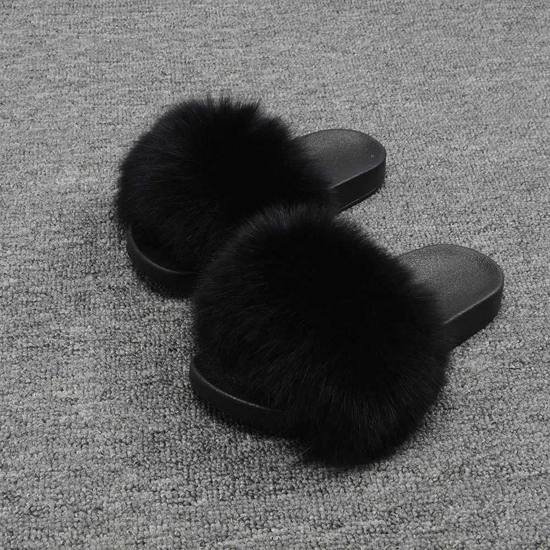 Black Blingbling-honored High end Real Fox Fur Slipper Women Slides Sliders Fashion Spring Summer Autumn Fluffy Fur Lady S6018