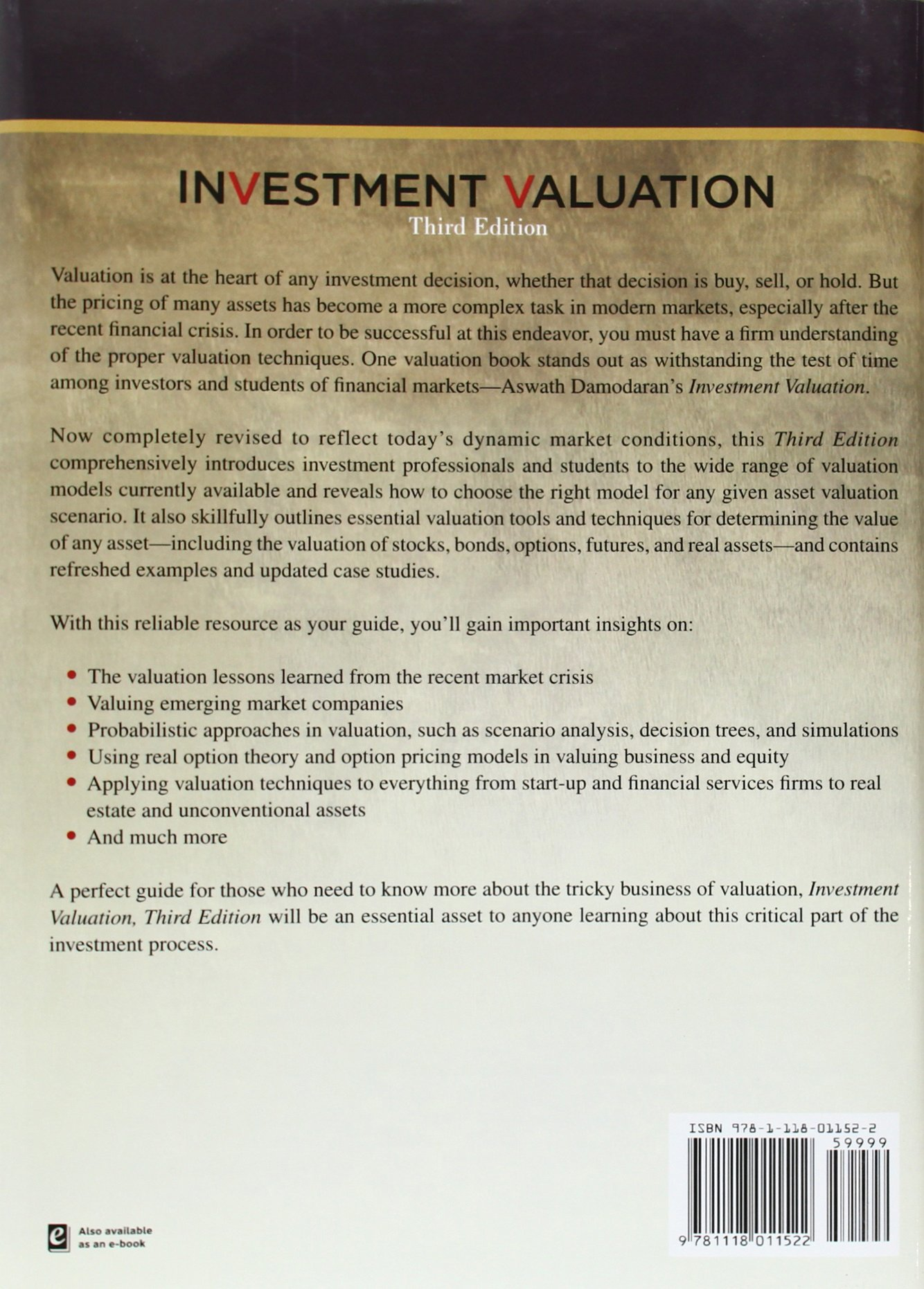 Investment Valuation: Tools and Techniques for Determining the Value of Any Asset