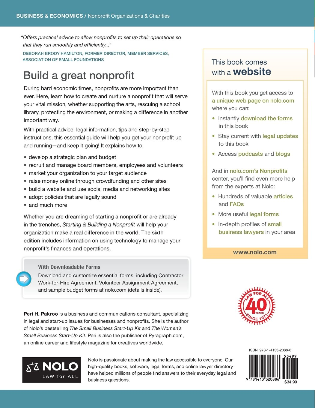 Starting & Building a Nonprofit: A Practical Guide: Peri Pakroo J.D.:  9781413320886: Amazon.com: Books
