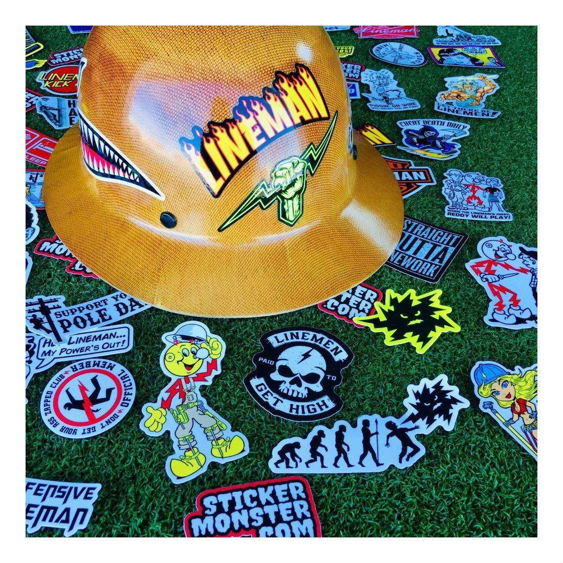 Lineman (64) Hard Hat Stickers Hardhat Sticker, Linemen, Electrician, Reddy IBEW by Unknown