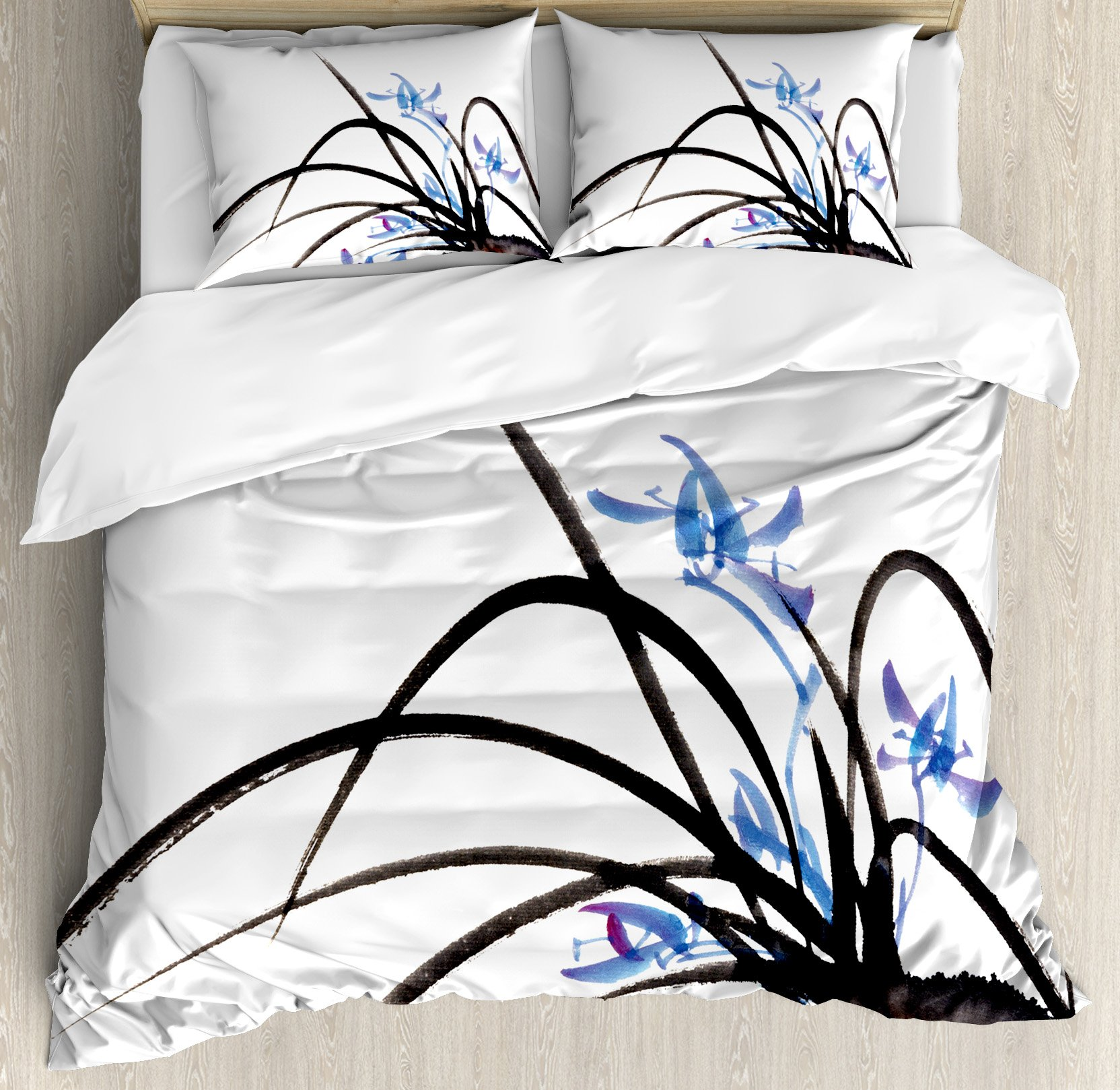 Asian Decor Duvet Cover Set by Ambesonne, Classic Asian Oriental Ink Painting of Orchid Artistic Design Decorative Artwork, 3 Piece Bedding Set with Pillow Shams, Queen / Full, Black Blue White by Ambesonne