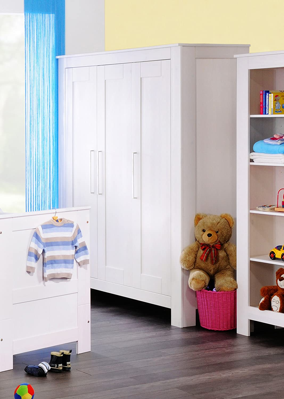 SAM® Kleiderschrank Emma Kiefernholz Kinderzimmer weiß 3 Türen Einlegeboden Babyzimmer 190 cm hoch Lieferung mit Spedition