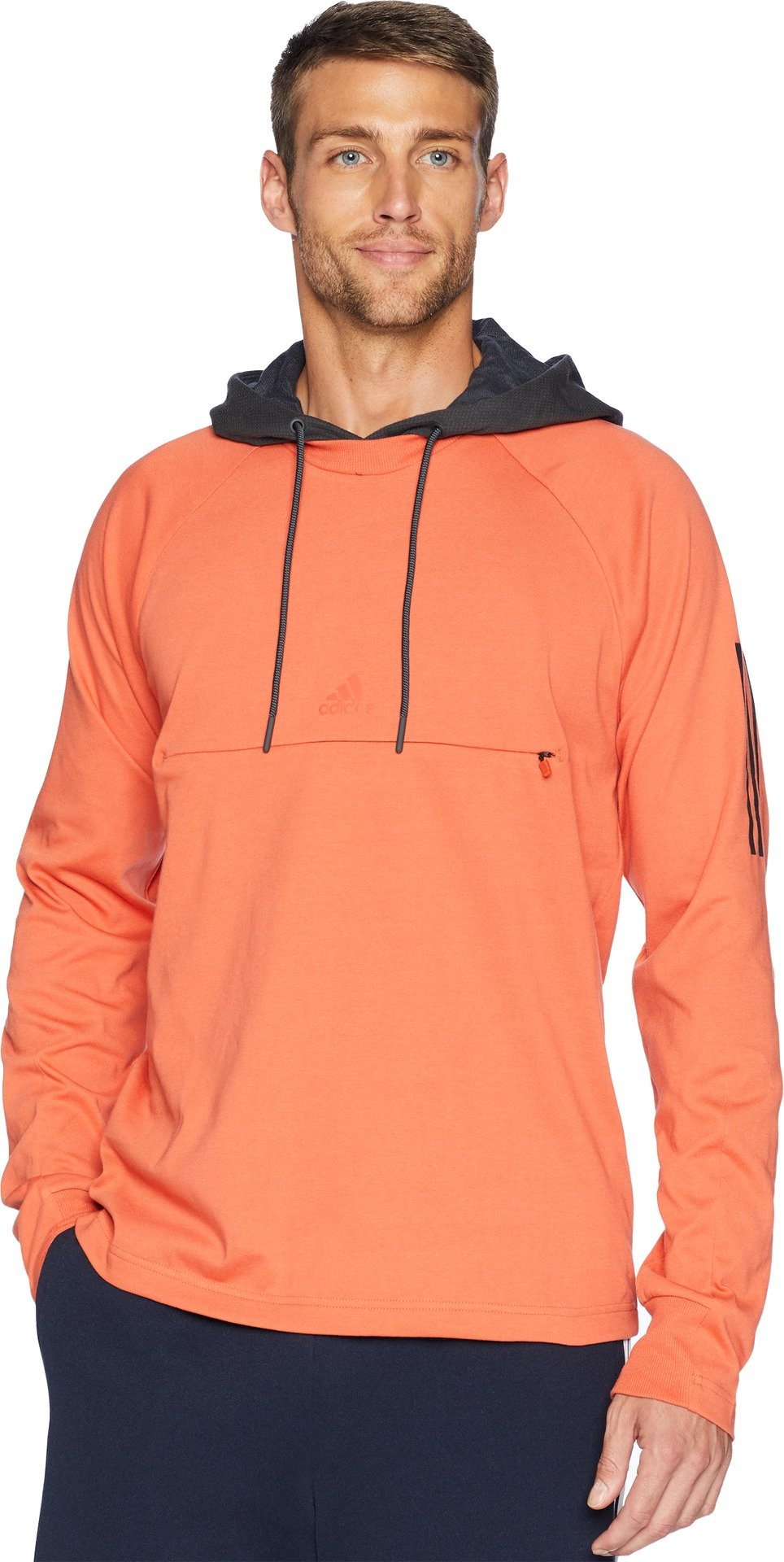 adidas Men's Sport 2 Street Lifestyle Pullover Hoodie Raw Amber/Carbon Small