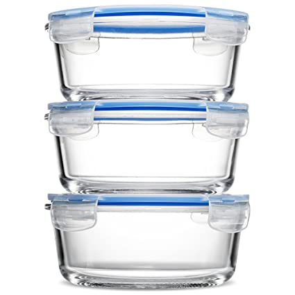 Amazoncom Glass Meal Prep Food Storage Containers 3 Pack 30 Oz