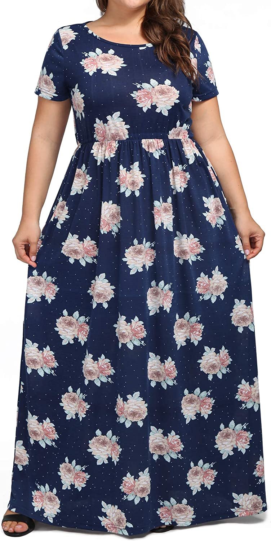 Ladies Women Flared Sleeve Casual Floral Print Shirt Dress Long Maxi Dress Plus