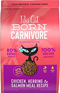Tiki Cat Born Carnivore Baked Dry Cat Food - High Protein Low Carb - Chicken & Fish