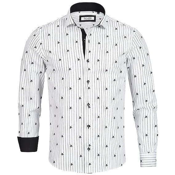 8484e36890c7 Palazzo Herren-Hemd Sommer Slim-Fit Shirt Langarm-Hemd Freizeit Business  Blumen Aufdruck