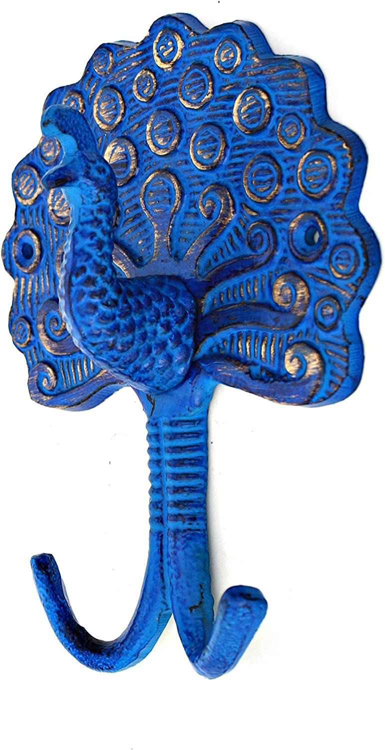 7.5 Height MarktSq Peacock Wall Hook in Electric Blue Finish