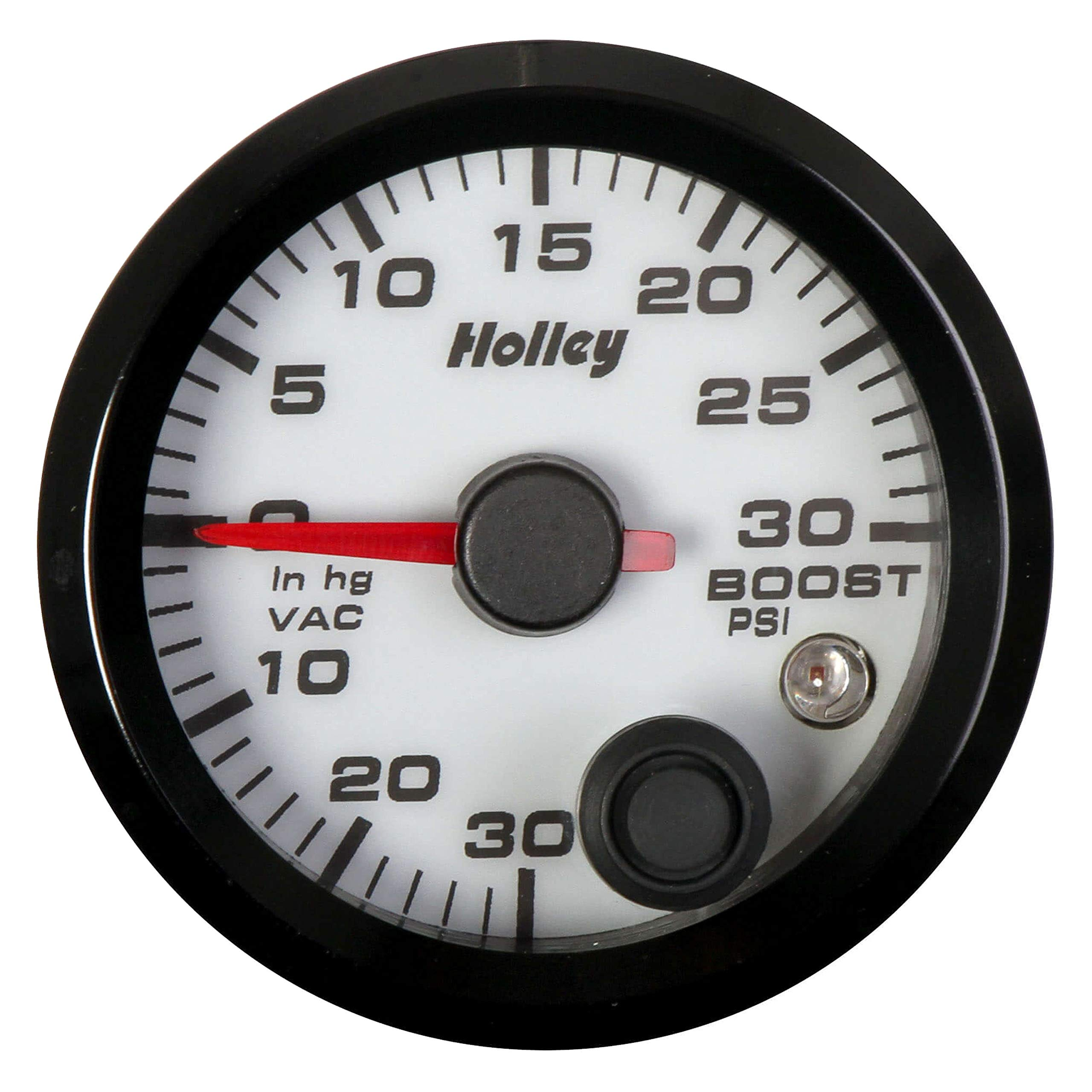 Holley 26-606W - Analog Style Series 2-1/16'' Vacuum/Boost Gauge, White, 30InHg/30 PSI by Holley