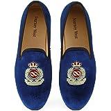 Journey West Uomo Annata Ricamo Nobile Velluto Mocassino Scarpe Slip-On Loafer Pantofole per Fumatori Nero/Rosso/Blu