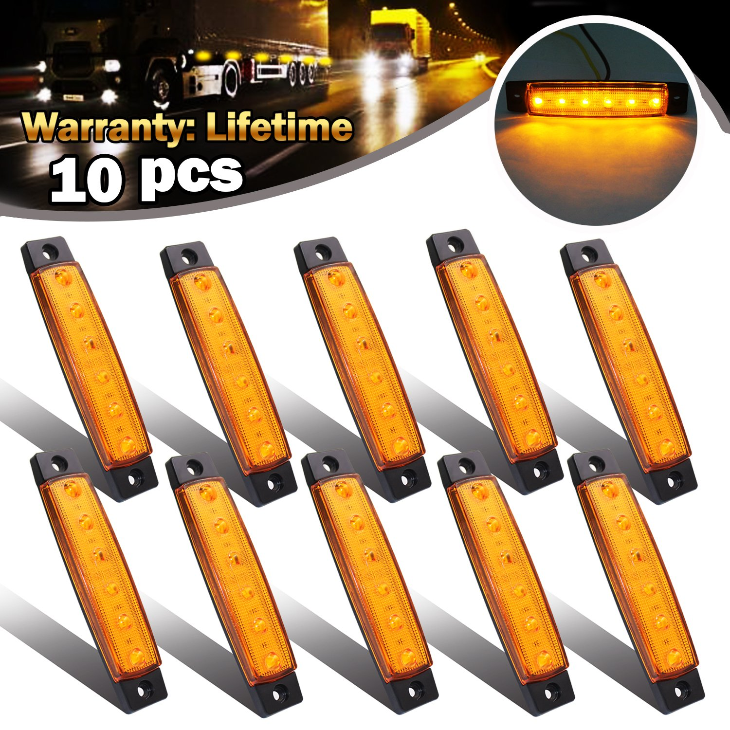 /¡/­ Blue 10x 6 LED Clearence Truck Bus Trailer Side Marker Indicators Light Tail Taillight Brake Stop Lamp 12V