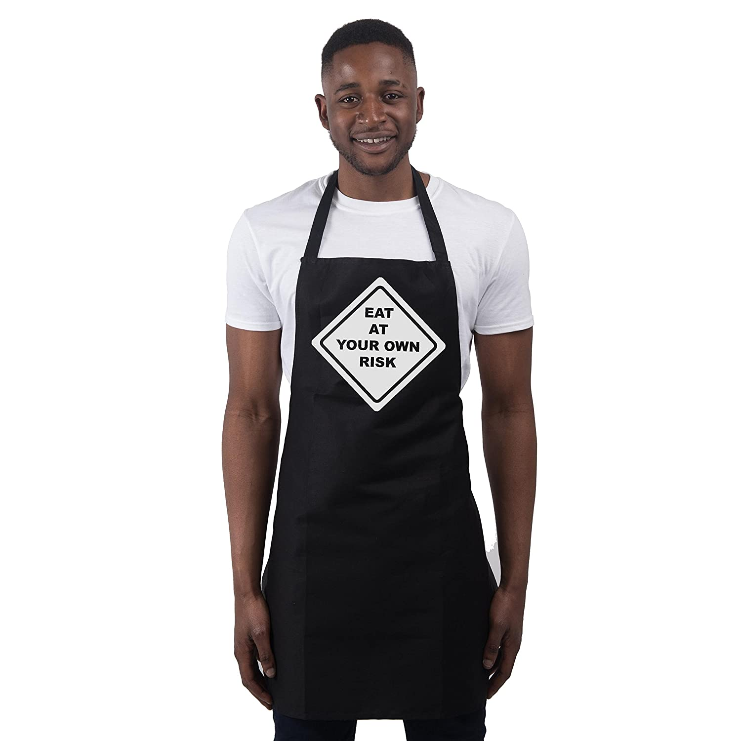 Funny BBQ Apron Novelty Aprons Cooking Gifts for Men Eat At Your Own Risk Bla.