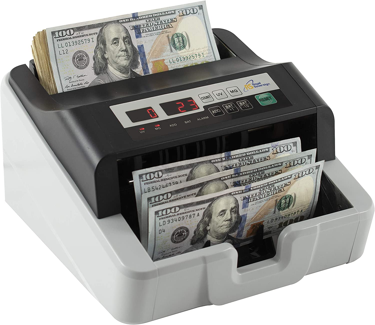 Royal Sovereign Back-Load High Speed Bill Counter W//Counterfeit Detection RBC-100