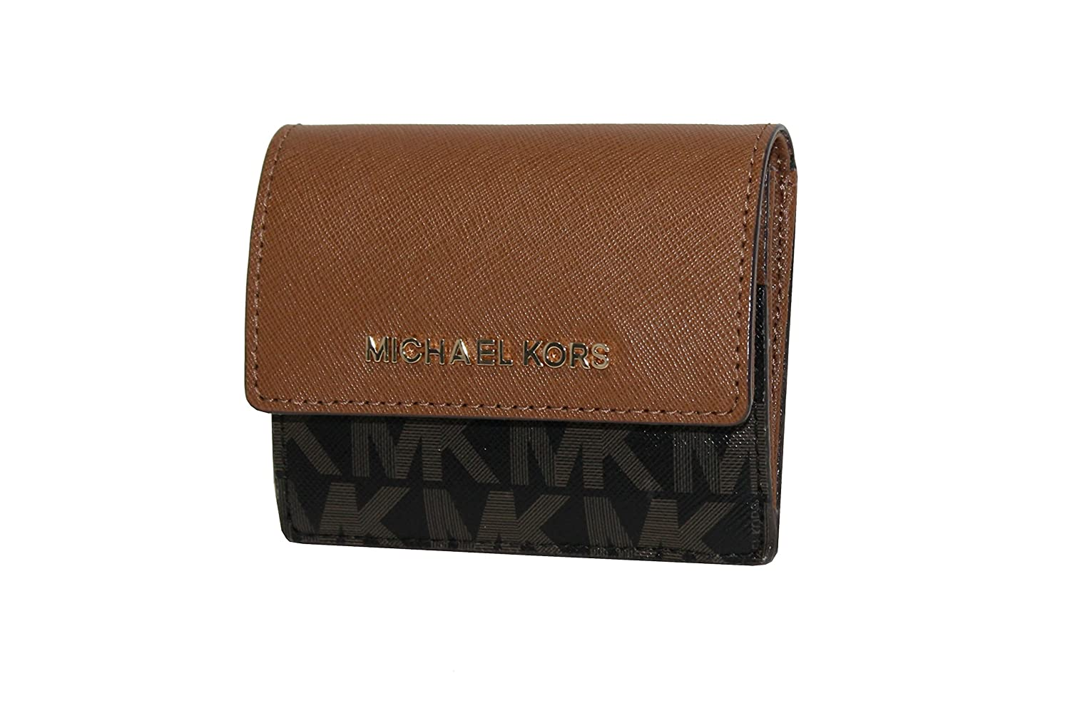 bdf2a19705a7 MICHAEL Michael Kors Women s Jet Set Travel Card Case ID holder Printed  Leather (Black darkBrown) at Amazon Women s Clothing store