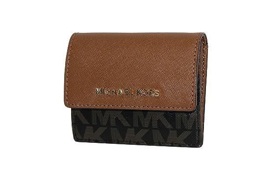 5ba7112f61e1 MICHAEL Michael Kors Women's Jet Set Travel Card Case ID holder Printed  Leather (Black/