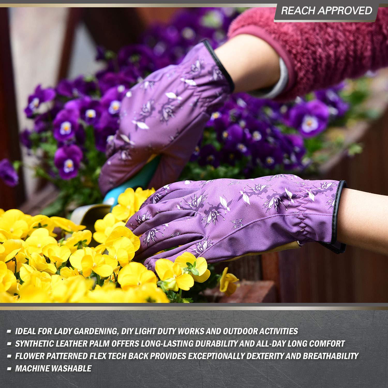 Talla S, Azul, SL7455 Vgo 1-Par de Guantes de Jardiner/Ía de Cuero Sint/ético de Alta Transpirabilidad Para Damas