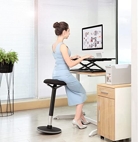 SONGMICS Standing Desk Chair, Standing Stool, Ergonomic Wobble Stool, 360 Swivel Balance Chair, Adjustable Height 23.6-33.5 Inches, No Assembly Required, Black UOSC05BK