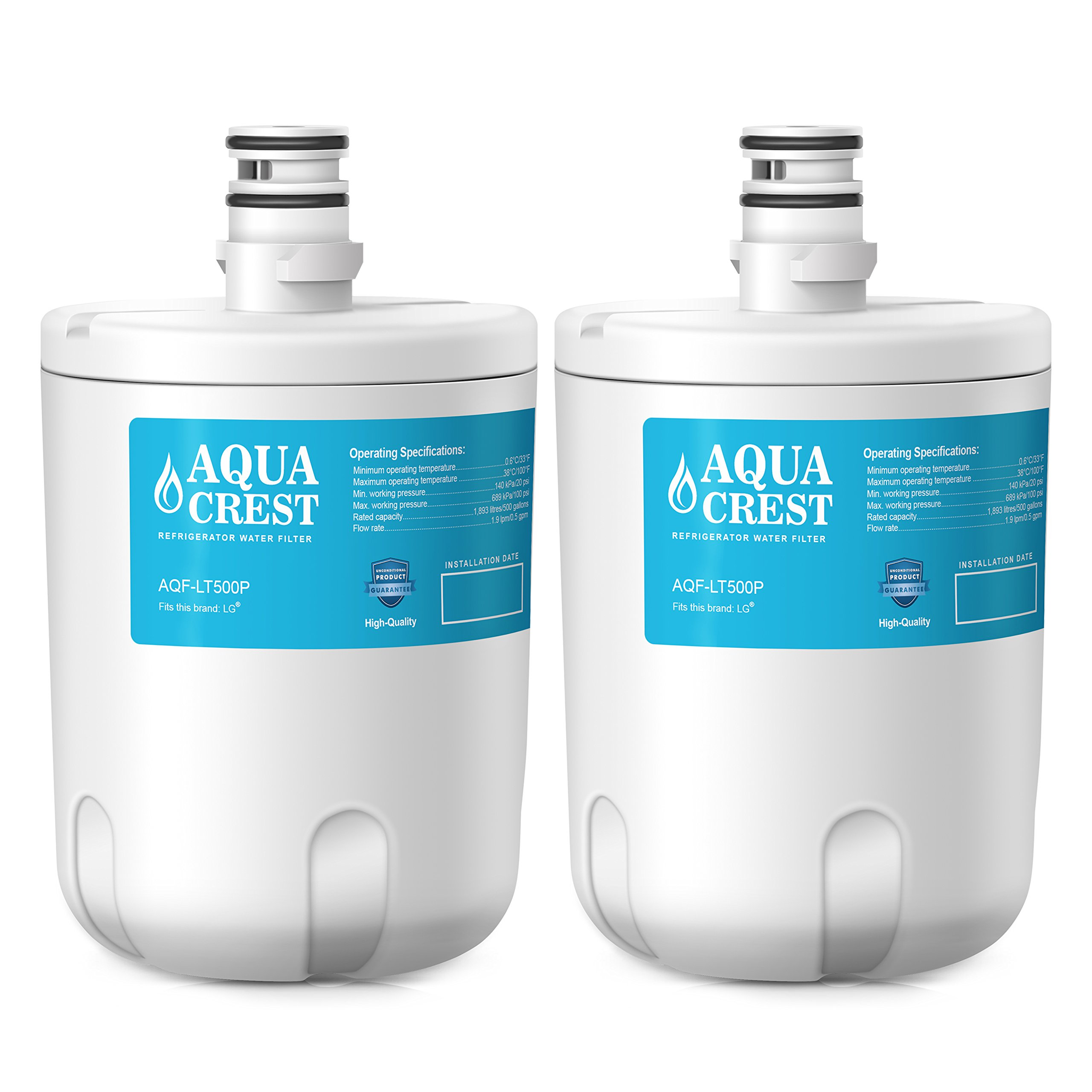 AQUACREST AQF-LT500P Replacement Refrigerator Water Filter, Compatible with LG 5231JA2002A, LT500P, ADQ72910901, ADQ72910907, Kenmore 9890, 46-9890, 469890, 2 Pack