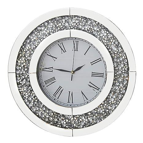 RICHTOP Reloj De Pared Grande Redondos Espejo Diseño de Diamantes, Casi Silencioso Cuarzo Relojes de