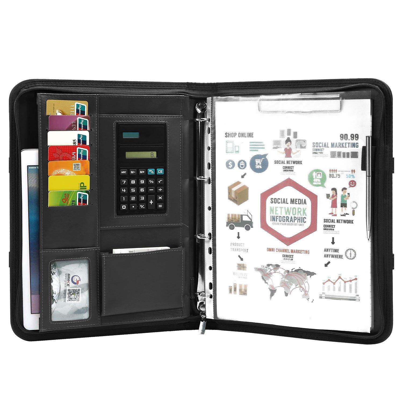 TEPSMIGO Zippered Padfolio with Calculator and Writing Pad, PU Leather Business Portfolio Clipboard Conference Folder 4 Ring Binder, Black