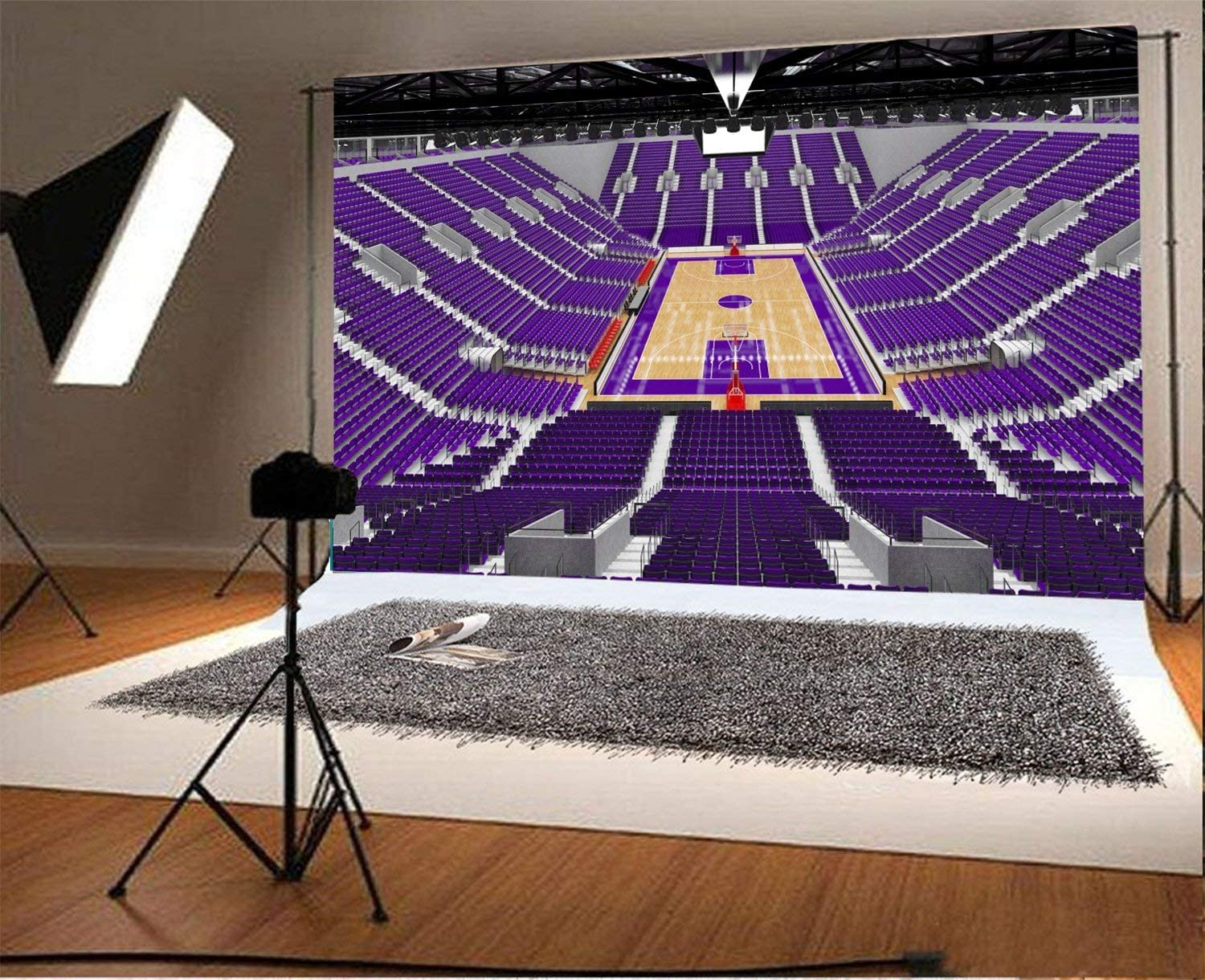Modern Sports Arena Photography Background 7x5ft Basketball Purple Seats 3D Render Arena Background Basketball Competition Emptygame Hoop Indoor Sport Spotlight Beautiful Big Stair