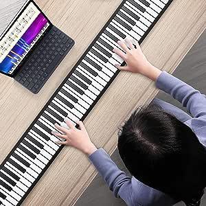 S SMAUTOP Teclado de piano enrollable, 88 teclas Teclado de piano eléctrico Instrumento musical de piano enrollado a mano 128 tonos y 14 canciones de ...