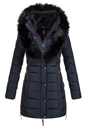 3d33b3802eb3 Marikoo Damen Winter Jacke warme Winterjacke Stepp Mantel Parka B402   B402-Turnam-Blau