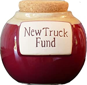 Tumbleweed Cottage Creek Gifts for Men New Truck Fund Ceramic Piggy Bank/Truck Coin Bank Round Jar [White]