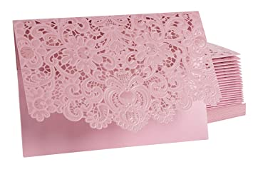 Amazon Com 24 Pack Wedding Invitation Cards Laser Cut Floral