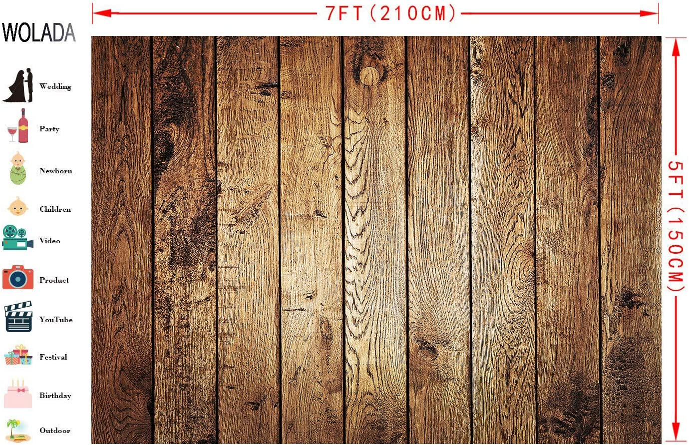 WOLADA 7X5FT Rustic Wood Backdrop Brown Wooden Wall Board Photography Background Baby Shower Birthday Party Decoration Banner Backdrops Photo Booth Prop 11867